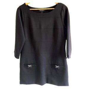 WHBM Black Tunic Quarter Sleeve Mini Dress | Med